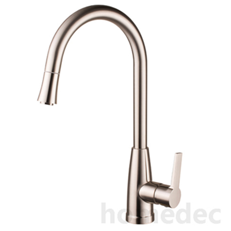Homedec Homedec Style Pull Out Kitchen Faucet Water Tap Brass Nickle Cold And Hot Two Spouts Kitchen Faucet 2 Ways Kitchen Tap free shipping low price promotion brushed nickle solid brass spring kitchen faucet two spouts pull deck mount mixer faucet zr659