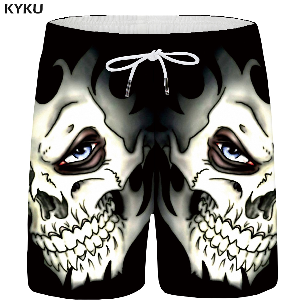 Kyku Skull Shorts Men Black Space Cargo Shorts Gothic Hawaii Beach 3d Print Shorts Casual Hip Hop Mens Short Pants Summer Male