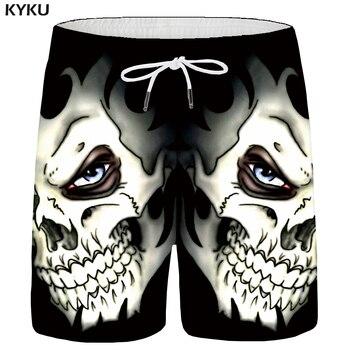 KYKU Skull Shorts Men Black Space Cargo Shorts Gothic Hawaii Beach 3d Print Shorts Casual Hip Hop Mens Short Pants Summer Male