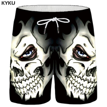 KYKU Skull Shorts Men Black Space Cargo Shorts Gothic Hawaii Beach 3d Print Shorts Casual Hip Hop Mens Short Pants Summer Male шорты пляжные женские stussy black hawaii shorts black