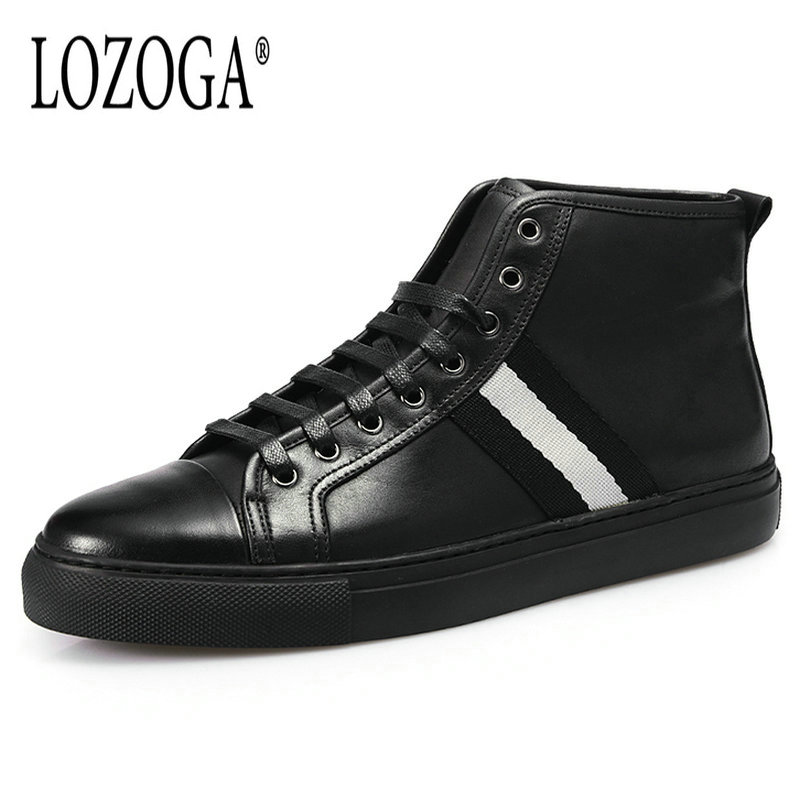 Lozoga New Shoes Men Fashion Boots Genuine Leather Handmade Black Boots Luxury Brand Ankle Boots Lace Up Flat Sneakers Wholesale lozoga genuine leather mens fur winter boots high quality male work & safety boots lace up handmade brand boots ankle keep warm