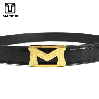 McParko Men Belt Automatic Buckle Genuine Crocodile Leather Belt Men Luxury Alligator waist Belt Stainless Steel Letter M Design