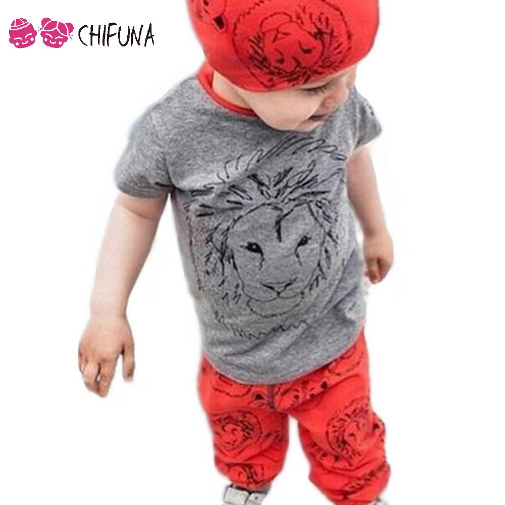 New Arrivals 2016 Spring Autumn Baby Boy Clothes Set Boys Sport Lion Printing Shirt+Pants 2pcs Suit Kids Clothes Boy Sets