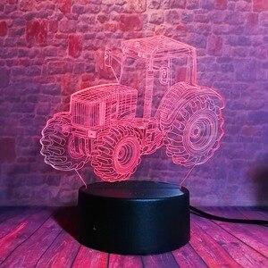 Image 2 - Yaratıcı 3D dinamik traktör otomobil araç 7 renk değiştirme USB masa masa lambası uzaktan kumanda dokunmatik taban çocuklar doğum günü noel oyuncak araba hediye