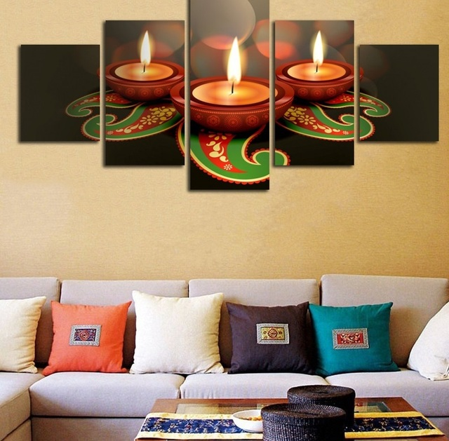 Modular Pictures Animated Clay Lamps Diwali Wall Art Home Decor ...