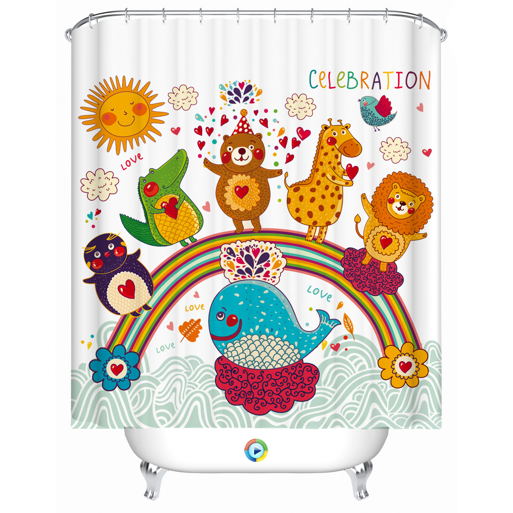 Bathroom Shower Curtain Lovely Cartoon Decorative Children Room Drapes Waterproof Home Decor Gifts