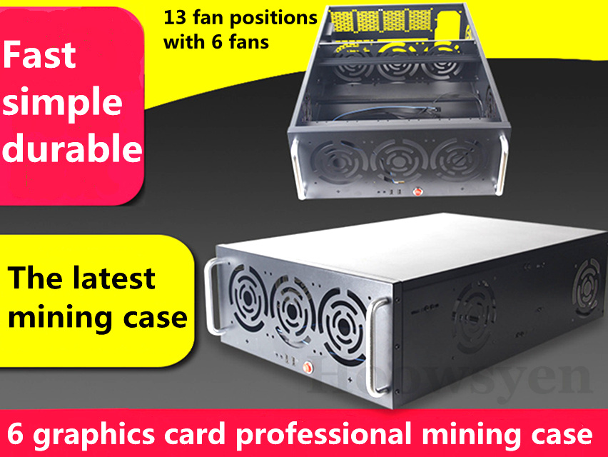Riser Mining case eth for BTC LTC DASH6 graphics GPU mining chassis 4U server chassis box mine with 13 fan positions with 6 fans integrated online analytical mining olam