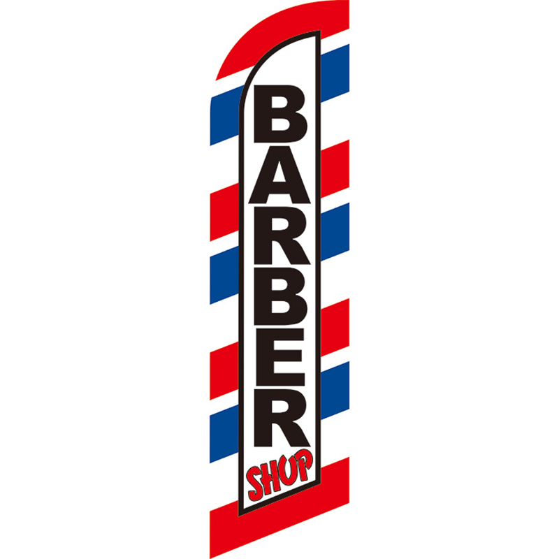 HAIR CUTS Barber Salon Swooper Banner Feather Flutter Bow Tall Curved Top Flag
