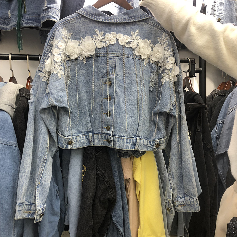 Femmes Harajuku Jean Veste Outwear Lourd Fleur Décoration Liquides Chaîne Courte Jeans Manteau 2019 Printemps Automne décontracté Vestes En Jean