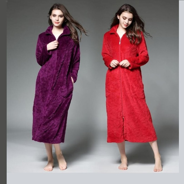 06adcd0753 Winter loves bathrobes cotton dressing gowns for women thicker longer  section zipper flannel robe men Big yards Sleep Tops