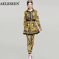 Luxury 3 Pieces Set Runway Summer Set's Women 2018 European Noble Gold Floral Printed Shirt + Pleat Skirt Pant Casual Suits