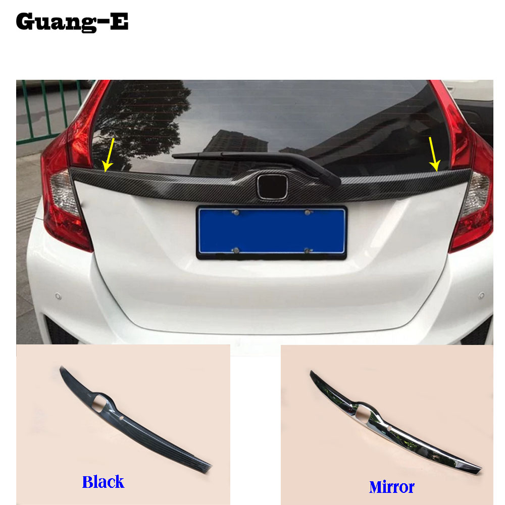 Car cover ABS Chrome Rear License Plate door bottom tailgate frame plate trim lamp 1pcs For Honda Fit jazz 2014 2015 2016 2017 high quality for qashqai 2016 car body styling cover detector abs chrome rear door bottom tailgate frame plate trim lamp 1pcs