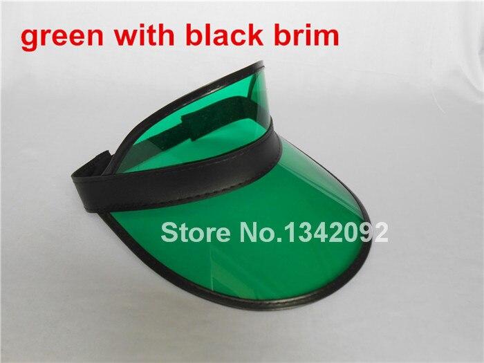 12 шт/партия белый/черный/прозрачный цвет солнцезащитный козырек фуражка шляпа рейверская Праздничная Fancey платье покер повязка на голову - Цвет: green and black brim