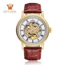 лучшая цена Mechanical Watch, Automatic Skeleton Mens Watches Top Brand Luxury Male Clock Men Leather xfcs a Wrist Watch OUYAWEI Wristwatch