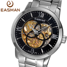 EASMAN Mens Watches Skeleton Classics Men Automatic Machine Self winding Watch For Men Big Dail Clock