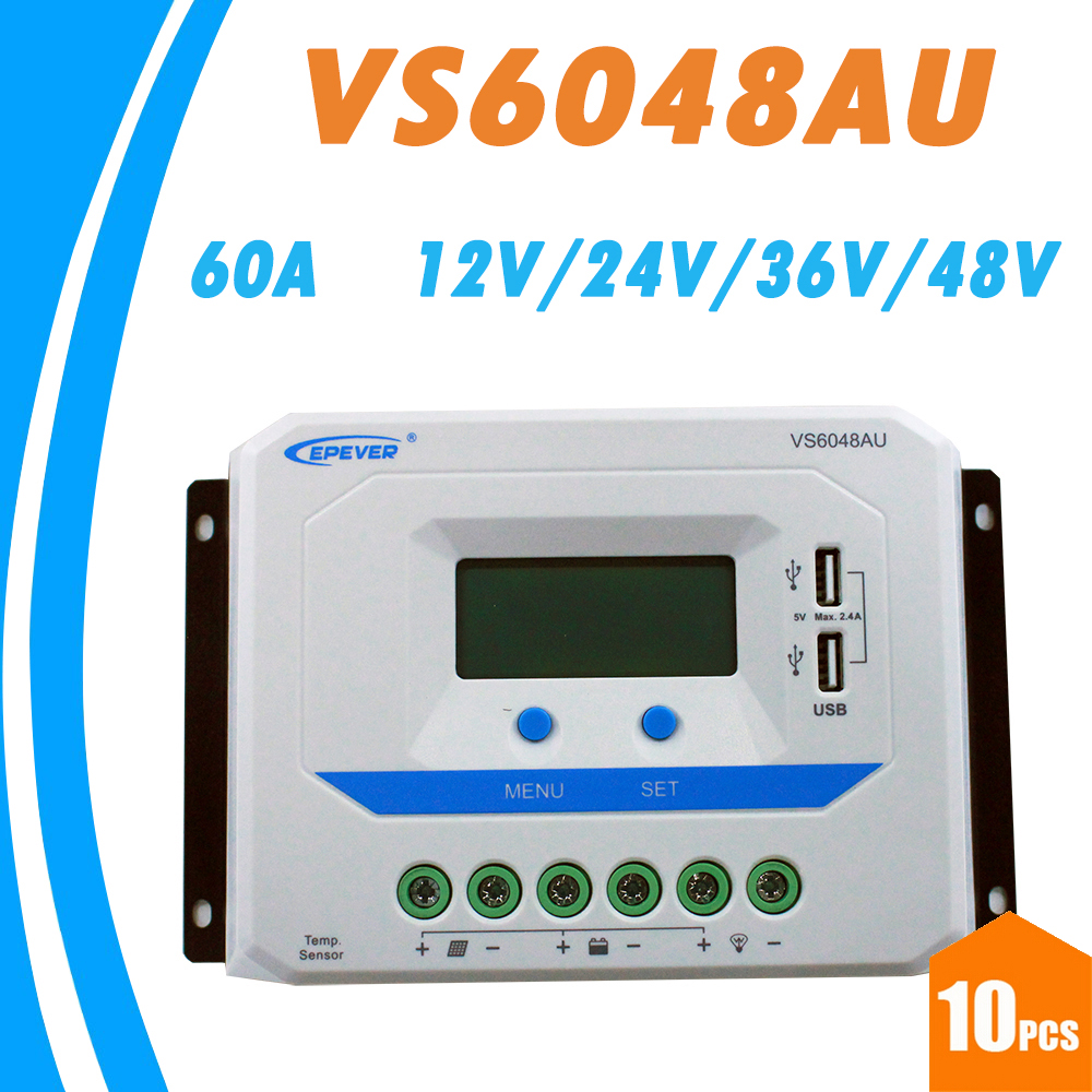 10PCS EPEVER 60A Solar Controller 12V 24V 36V 48V Auto VS6048AU PWM Charge Controller with Built in LCD Display Double USB 5V пылесос shivaki svc 1438y