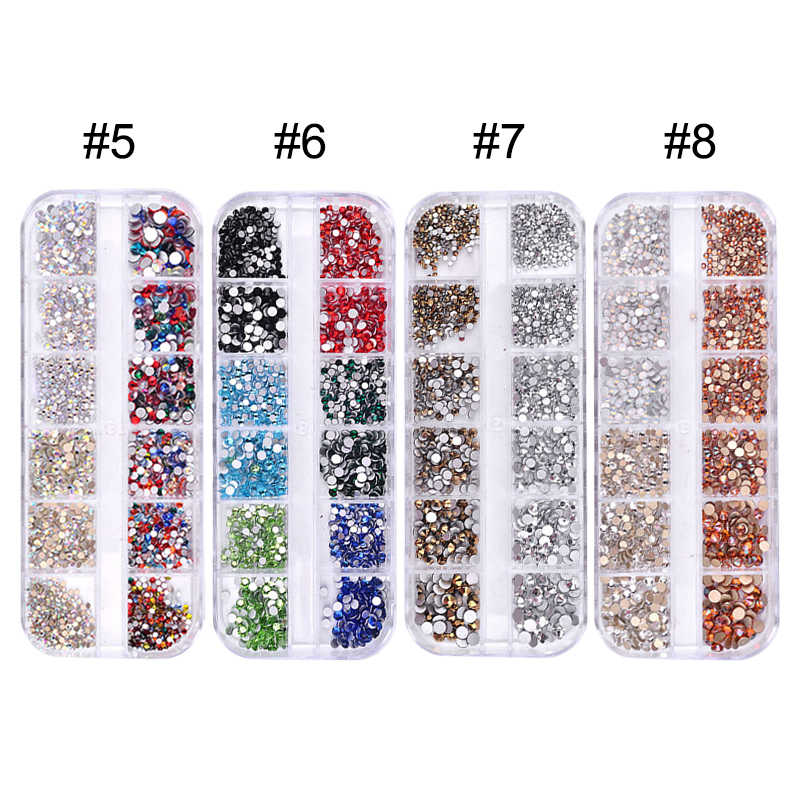 8ca206c4f8 1 Box Multi Size Nail Rhinestones Mixed Colors Flat-back AB Crystal Strass  3D Charm Gems DIY Manicure Nail Art Decorations