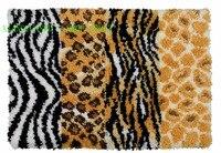 JCS ZD650 Leopard Print Hook Rug Kit DIY Mat Needlework Kit Unfinished Crocheting Rug Yarn MAT