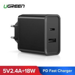 Ugreen 18W Type C PD Fast USB Charger for iPhone X 8 XS XR PD Quick Charger 5V 2.4A Phone Charger for Samsung Xiaomi Charger