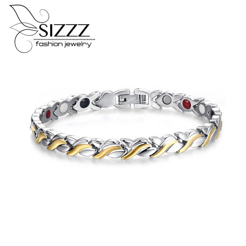Mode Santé Magnétique Bracelet Pour Les Femmes 21.6 cm En Acier Inoxydable Avec Aimant Main Bracelets