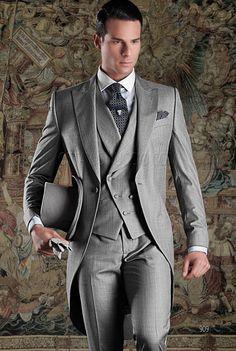 최신 코트 바지 디자인 이탈리아 그레이 Tailcoat 댄스 파티 정장 슬림 맞는 3 조각 턱시도 맞춤 양복 신랑 블레 이저 Terno Masculino 브이