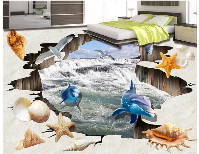 Fußboden 3d Bilder ~ 3d wallpaper wasserdicht strand shell wohnzimmer badezimmer 3d boden