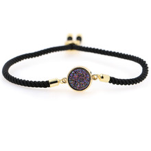 Top Popular 2019 Fashion Multicolored Beads  Druzy Adjustable Rope Chain Bracelets For Women Toggle-clasps womens bracelets