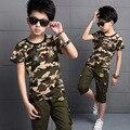 Nova meninos Set verão camuflagem T camisas + calças crianças roupas Ropa Ninos crianças roupas 6BET081
