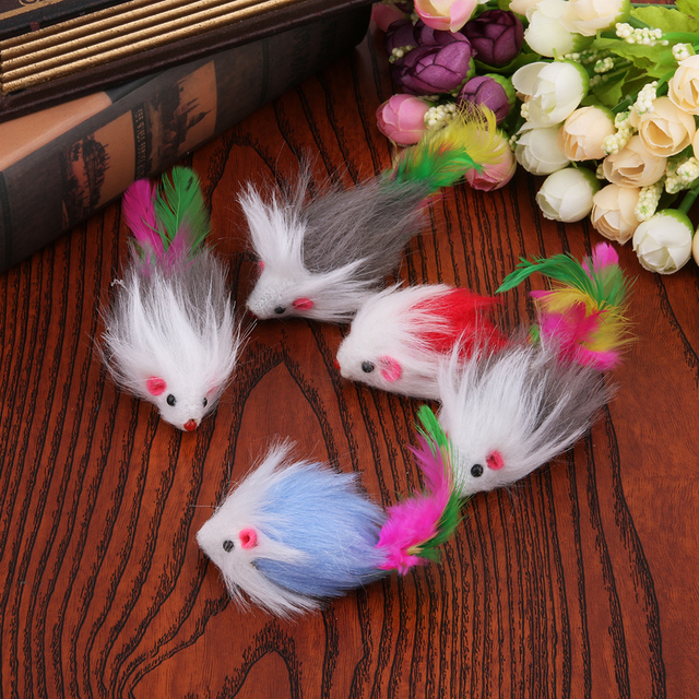 5pcs/set cat toy Soft Colorful Plush Cat Toys Mouse Fleece False Funny Cats Playing Toys For Cat Kitten Pet Products