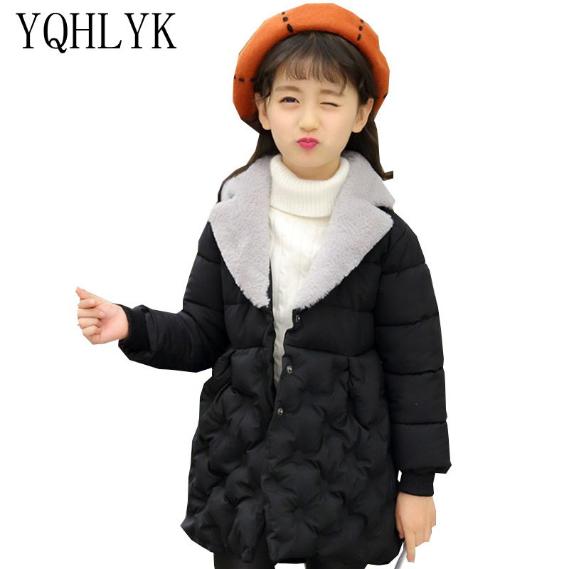 New Fashion Winter Cotton Girls Coat 2018 Korean Children Lapel Pure Colour Thick Warm Jacket Sweet Casual Kids Clothes W80 2016 autumn and winter fashion explosion models men s warm thick cotton korean slim casual jacket