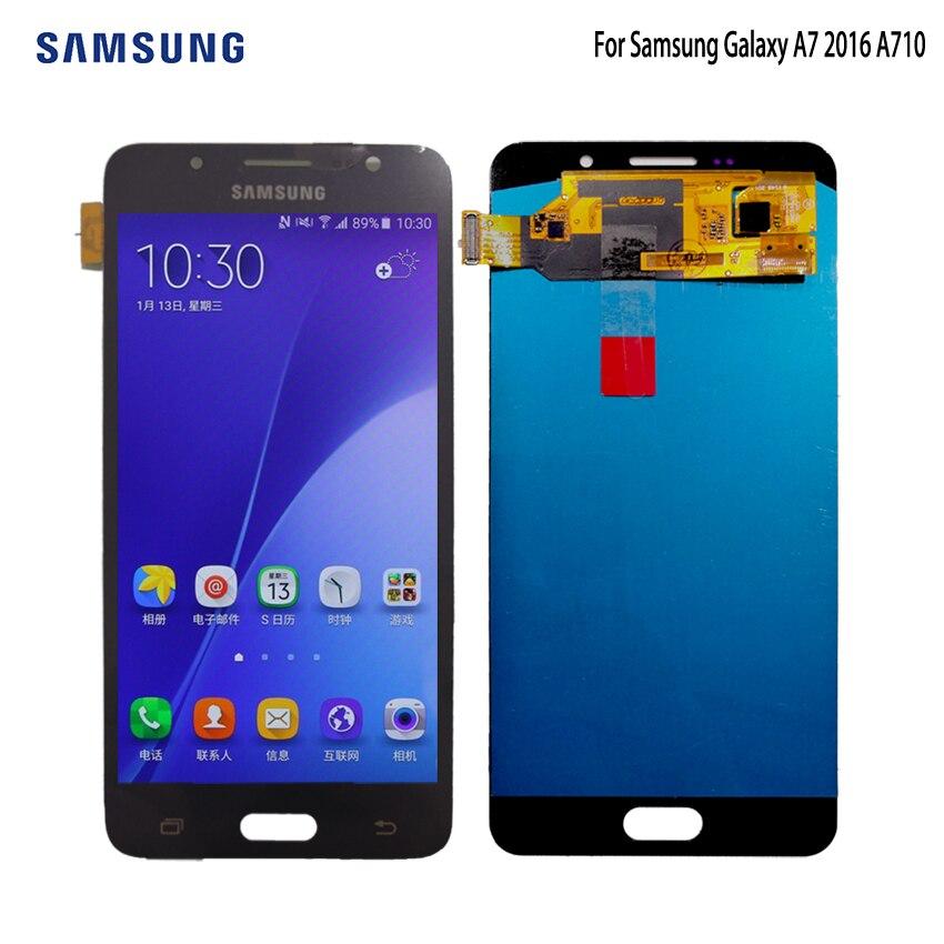 Origine AMOLED LCD Pour SAMSUNG Galaxy A7 2016 LCD Affichage A7100 A710F A710 Écran Tactile Digitizer Remplacement 5.5 ''Livraison outils