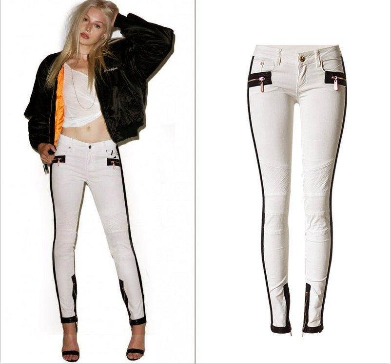 ФОТО Londinas Ark Store Women Summer Fashion Jeans Tide Ivory White Low Waist Stretch Leather Stitching Skinny Denim Pencil Jeans