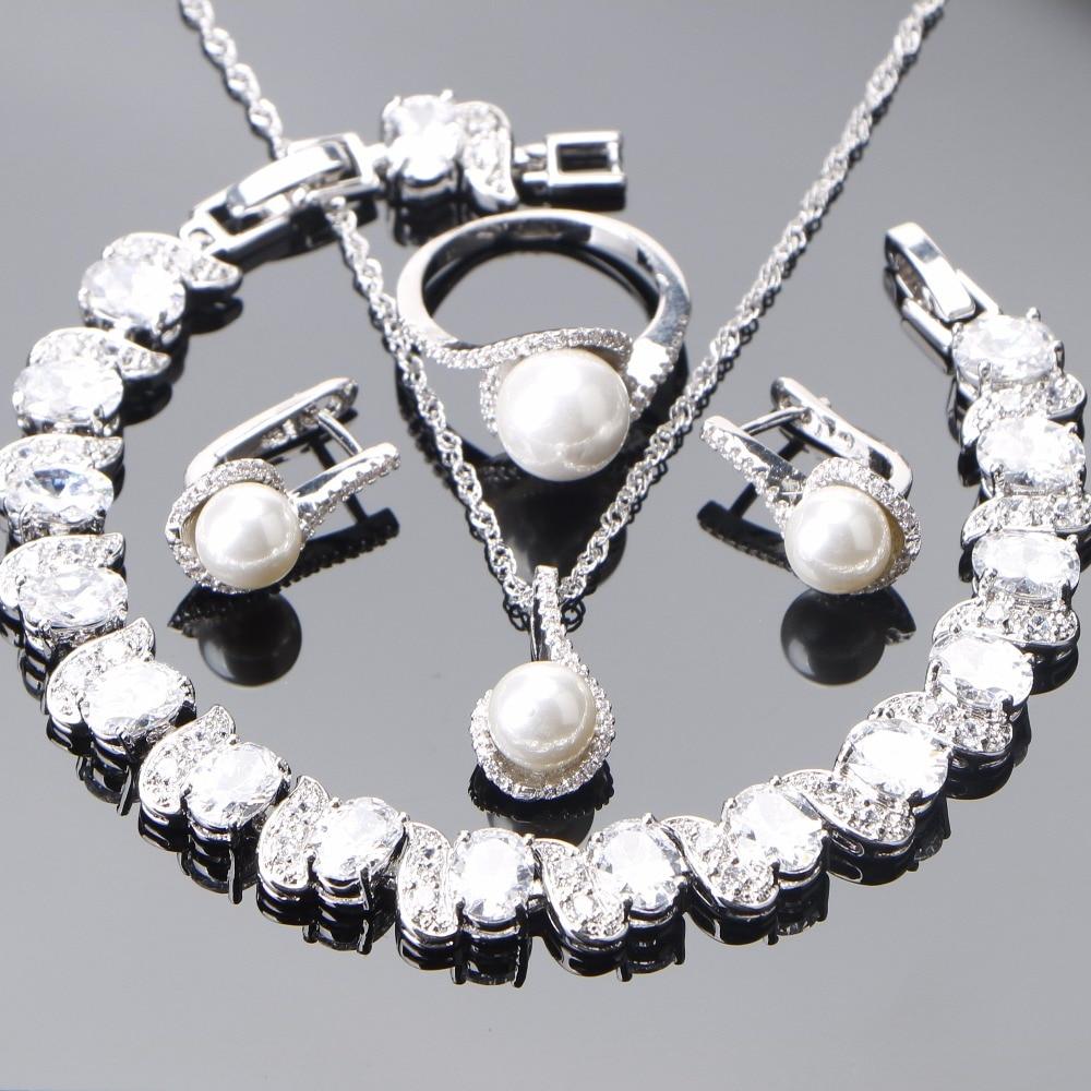 Silver 925 Pearl Jewelry Sets Women Bridal Wedding Pearls Earrings Bracelet Zirconia Jewelry Pendant Necklace Rings Set