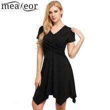 Meaneor Fashion A-Line Asymmetrical Hem V-Neck Dresses Female Summer Short Sleeve Solid High Pleated Waist Casual Dress Vestidos