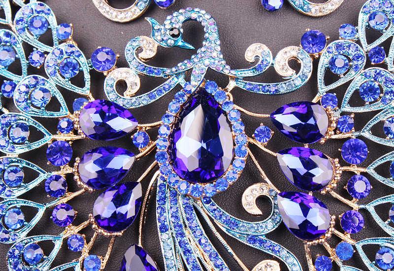 Большой Кристалл Свадебные Ювелирные наборы Свадебный аксессуар к костюму для вечеринки индийское ожерелье серьги для невесты Павлин Ювелирные наборы для женщин