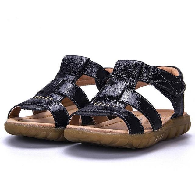 ce96c79c2 Leather Sandals Boys 2018 100% Soft Summer Kids Sandals Unisex Shoes For  Children Flat Heels Shoes Kids Baby Girl Boy Sandals