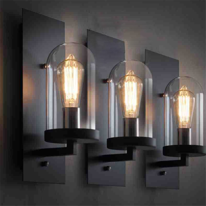 American Loft Personality Retro Industrial Style Creative Nostalgic Art Glass Wall Lamp Aisle Toilet Lamp Free