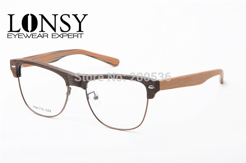 LONSY Vintage Imitation Wood Optical Frames Half Rim Eye Glasses Frame For Men Women Natural Style Myopia Frames BB4175