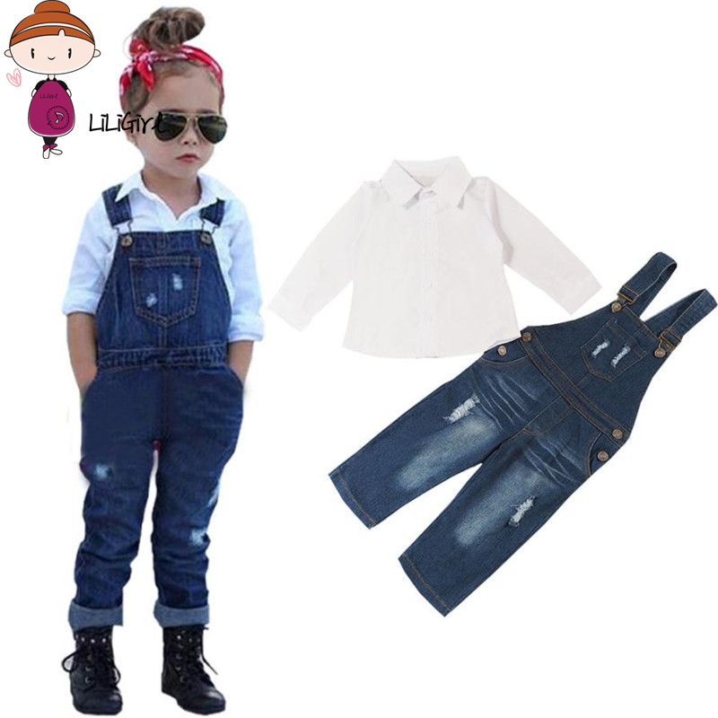 Kid Fashion Solid Color Blouse Clothes Sets Suit Baby Girls Long Sleeve T-Shirt Tops+Jeans Pants Overalls Children Clothing 3-8T finejo baby girls kids blouse jeans pants casual clothes sets suit outfits