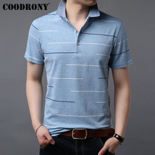 COODRONY Cotton Tshirt Striped Short Sleeve T Shirt Men Business Casual T-Shirt Clothing Spring Summer Mens T-Shirts S95053