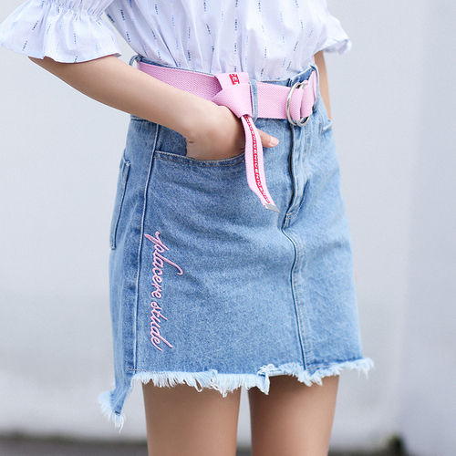 cafcc2cb588 Denim Skirts Women 2018 Japaness Lolita Letters Embroidery Tassel A Line  High Waist Blue Jeans Skirt Pink Belt saia jeans B172