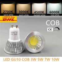 Led bombilla led spotlight regulable GU10 cob E27 E14 mr16 3 w 5 w 7 w 10 w blanco cálido 2700 lámpara halógena de reemplazo de potencia real blanca fría k 3000 K