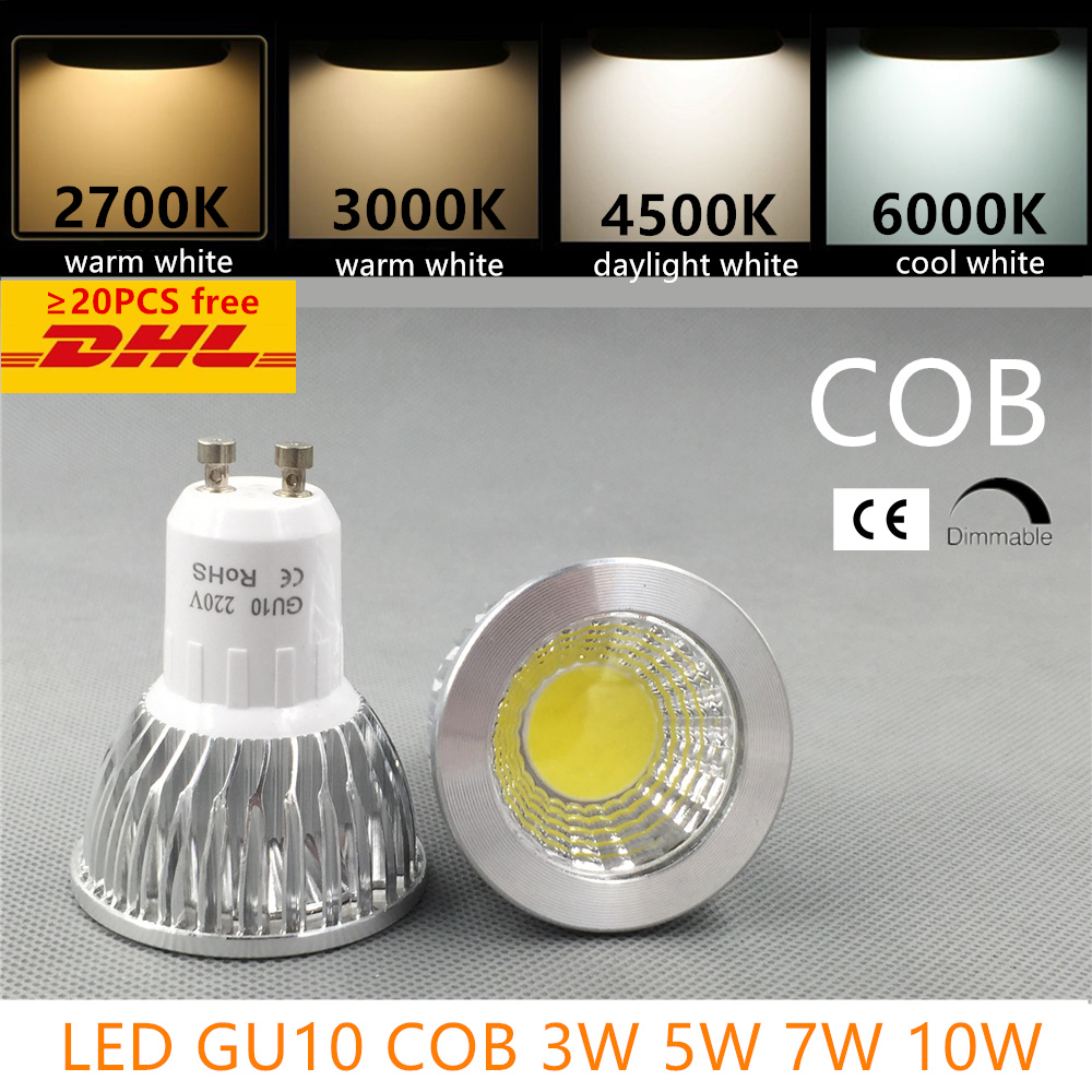led bulb spotlight dimmable GU10 cob mr16 3w 5w 7w 10w warm white 2700k 3000Kdaylight cool white real power replace halogen lamp цены