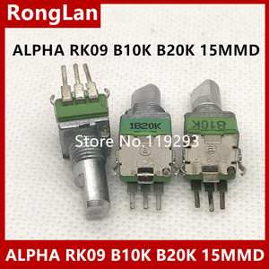 [Bella] taiwan importou alfa alfa rk09 potenciômetro de precisão b10k b20k b50k único comprimento do eixo de pé curvado 15mm--10pcs/lot