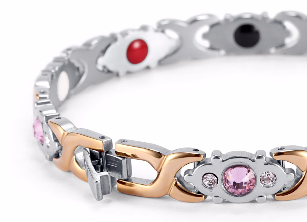 17 Rainso Crystal Gem Woman Bracelet Stainless Steel Health Energy Magnetic Gold Fashion Jewelry Lady Bracelets Gift for Girls 17
