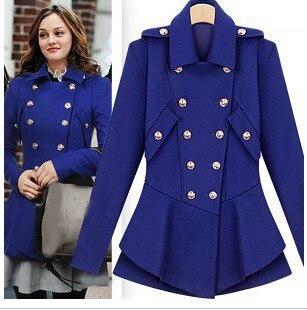 US $47.0 49% OFF|Europäische Neue Mode 2019 Frühling Winter Gossip Girl Design Rot Blau Schwarz Zweireiher Mantel Oberbekleidung S L in Wolle &
