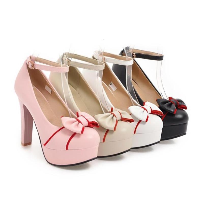 Arco Hebilla 2019 Plataforma El Beige Palabra Impermeable Dulce Otoño Tacón Alto Zapatos blanco rosado negro La De Primavera Y Una YxCzqz