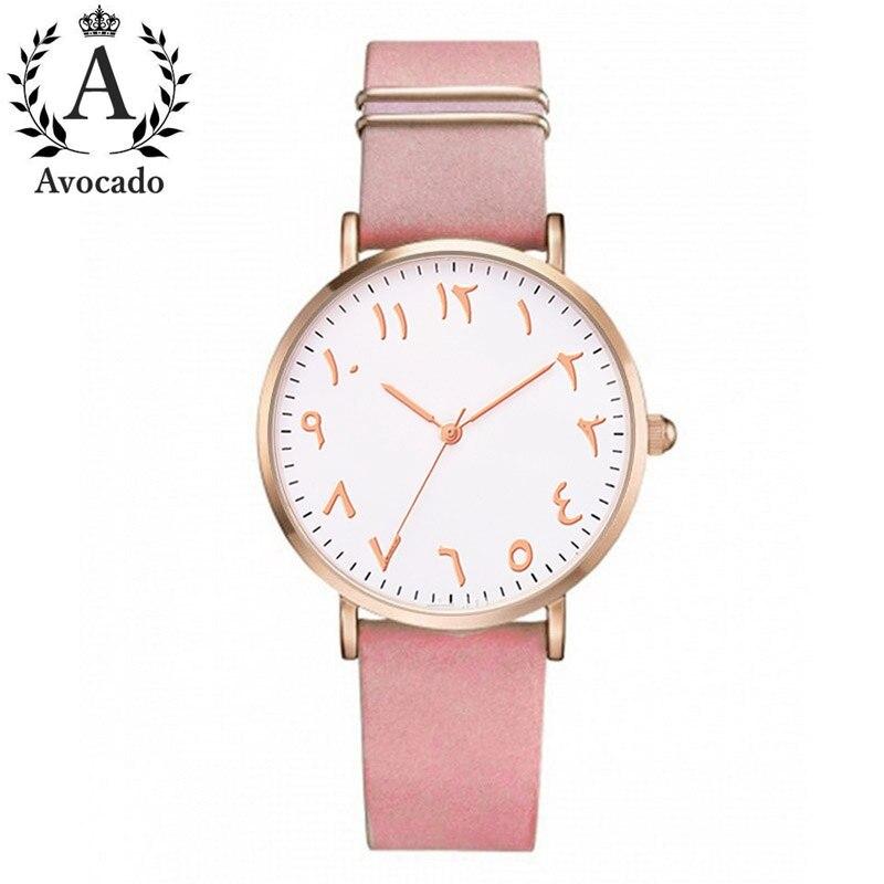Avocado Fashion Arabic Numbers Women Watch Ladies Quartz Watch Luxury Brand Leather Wristwatch Dress Clock Relogio Feminino