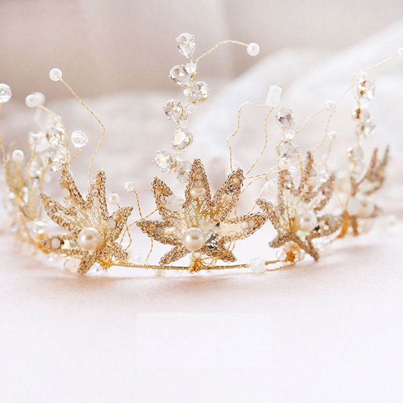 2018 New Crown Tiaras Hairband Girl Women Gold Flower with Beads Hairbands Bridal Hairwear for Dress Birthday Anniversary Gifts