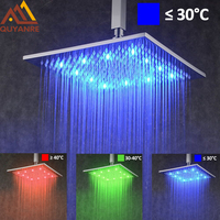LED Changing 8/10/12/16/20 Square Rainfall Shower Head Faucet Bathroom Accessory Wall Mount Top Over head Shower Sprayer